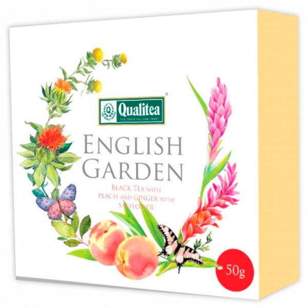 """Чай """"Кволити"""" Английский сад. Черный чай с персиком, имбирем и сафлором, картон"""