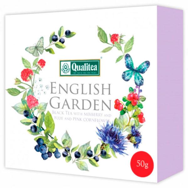 """Чай """"Кволити"""" Английский сад. Черный чай с ягодами и  васильком, картон"""